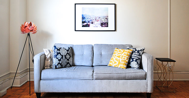 Blue Fabrics Loveseat Sofa for Sale